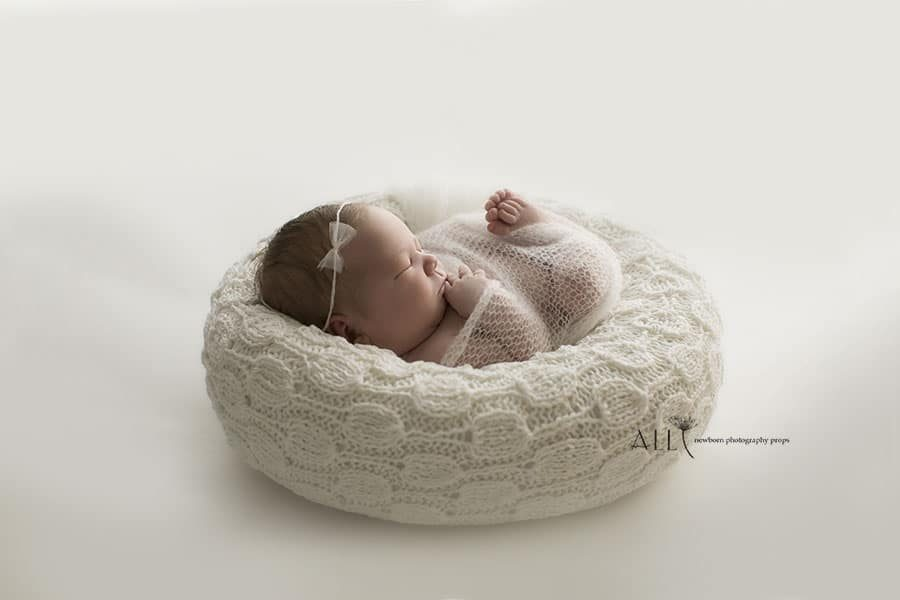 Newborn Posing Bag - 'Create-a-Nest'™ Hudson girl white all newborn props