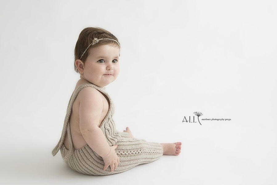 Toddler girl photoshoot outfit neutral brown knitted romper uk