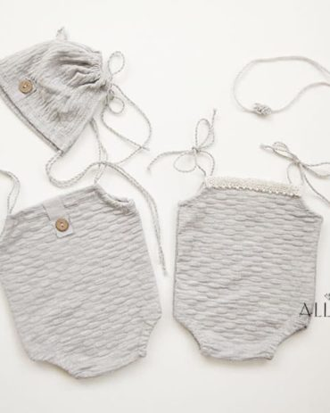 Newborn Outfit for Photography – Romper (Reversible), Bonnet & Headband Set Boy and Girl grey baby photo props for sale europe uk