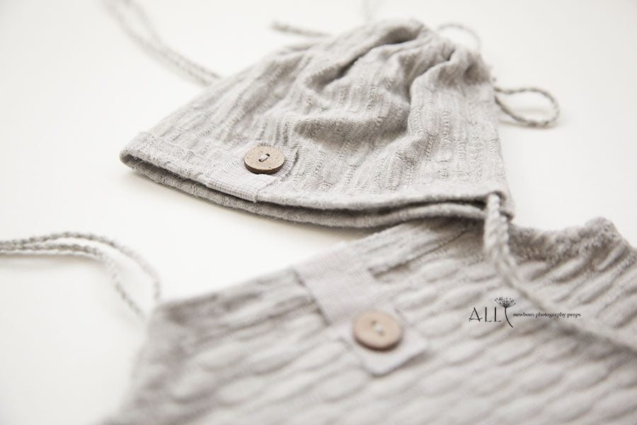 Newborn Outfit for Photography – Romper (Reversible), Bonnet Set Boy grey vintage newborn prop shop uk