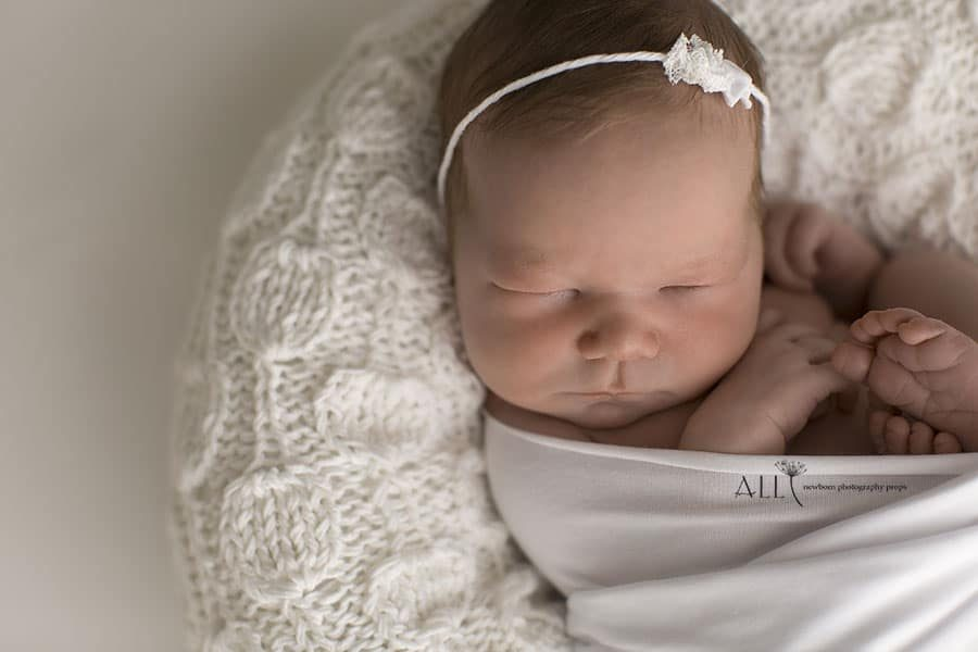 White Lace Newborn Headband - girl photoshoot props for sale uk