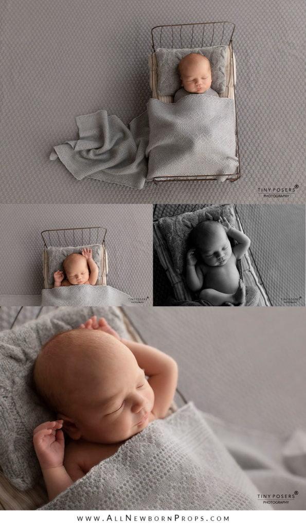 Props for newborn photos boy posing pillow wrap blanket neutral grey minimal polen