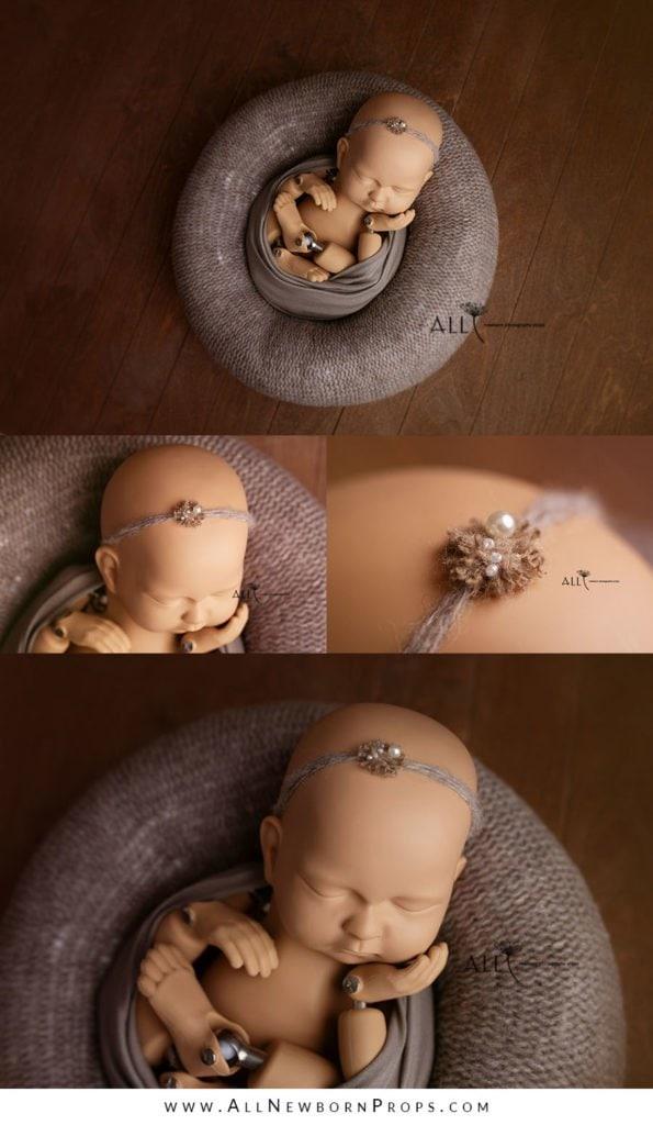 photography prop newborn girl posing pillow wrap headband tieback neutral usa