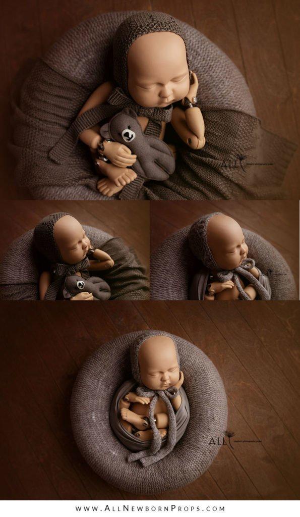 props for newborn photoshoot baby boy poser wrap bonnet teddy bear new born props