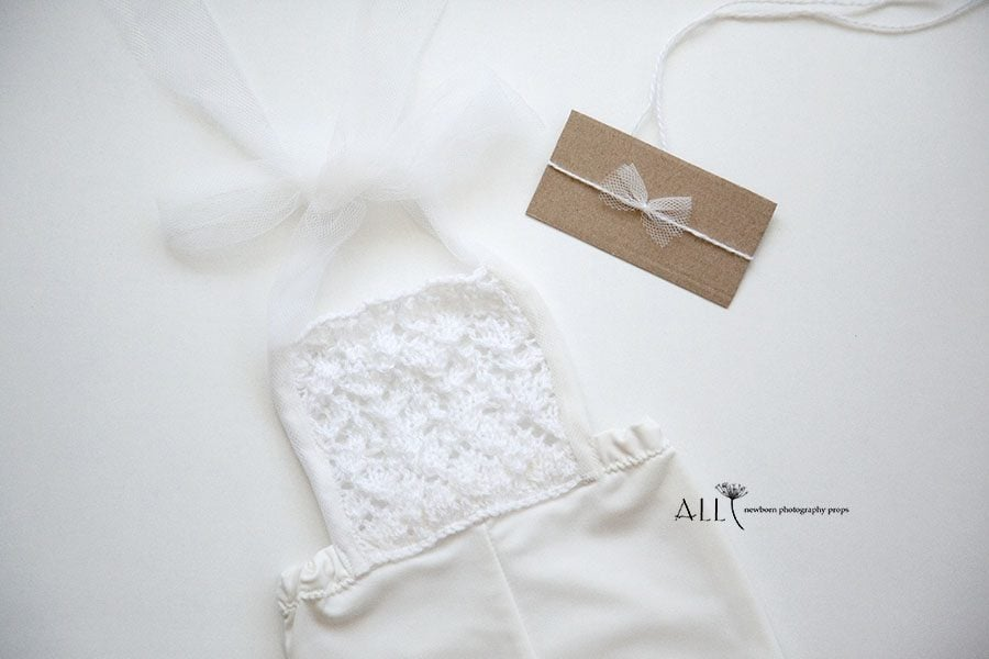 Newborn Outfit for Photoshoot – Overalls knitted bib white photoshoot props for sale uk