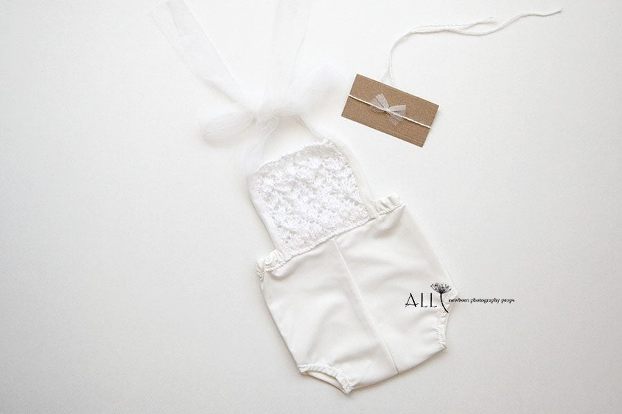 Newborn Outfit for Photoshoot – Overalls white cream new born props polen