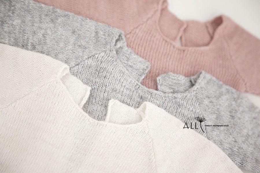 Newborn Photoshoot Outfits Boy Girl - Knitted Romper white cream grey pink eu