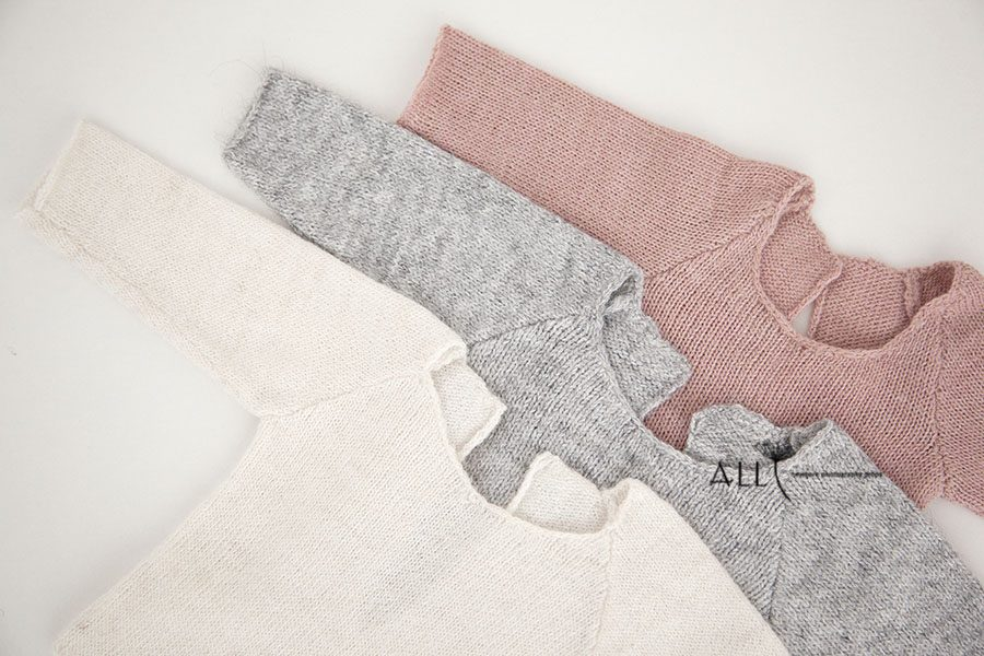 Newborn Photoshoot Outfits Boy Girl - Knitted Sleeper white cream grey pink eu