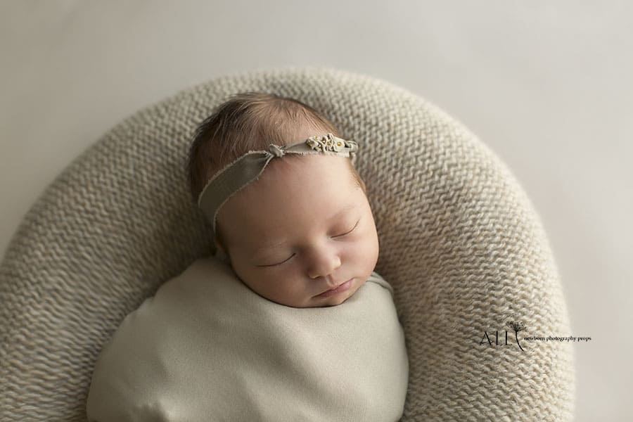 Newborn Photography Props Coordinated Bundle – Miraji/Alma Beaded Headband Tieback