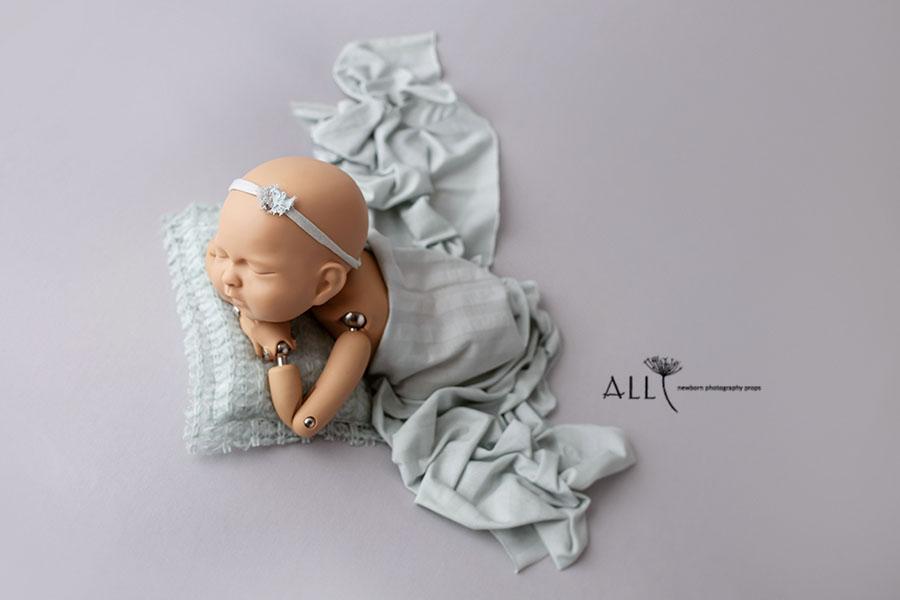Grey Soft Cotton Jersey Stretchy Wrap Headband Set Baby Newborn Photo Prop