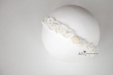 Newborn Baby Tieback white rose pearls europe