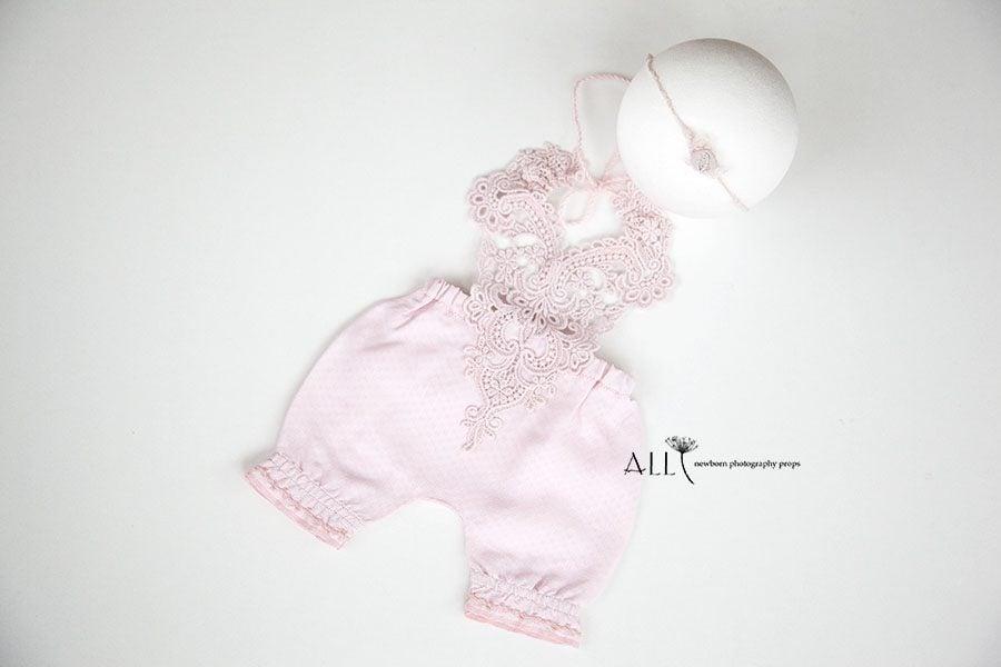 Newborn Lace Outfit Girl – Bib Overalls pink newbornprops