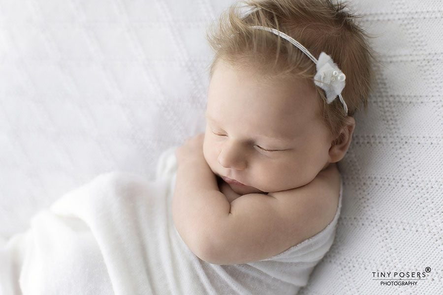 White Ruffles and Pearls Fabric Headband Newborn Photography Prop