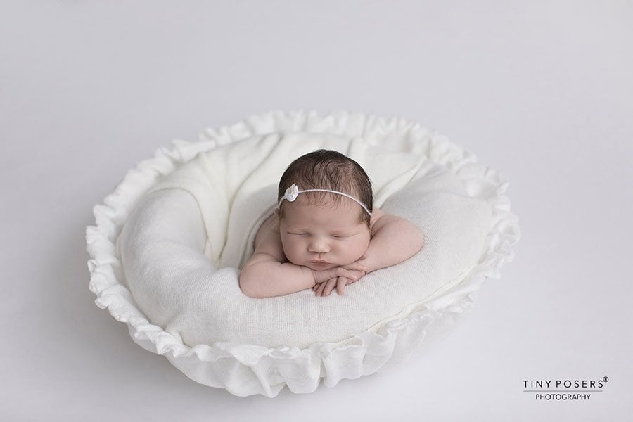 Newborn Posing Bowl for Photography: Unique Vessel White EU girl