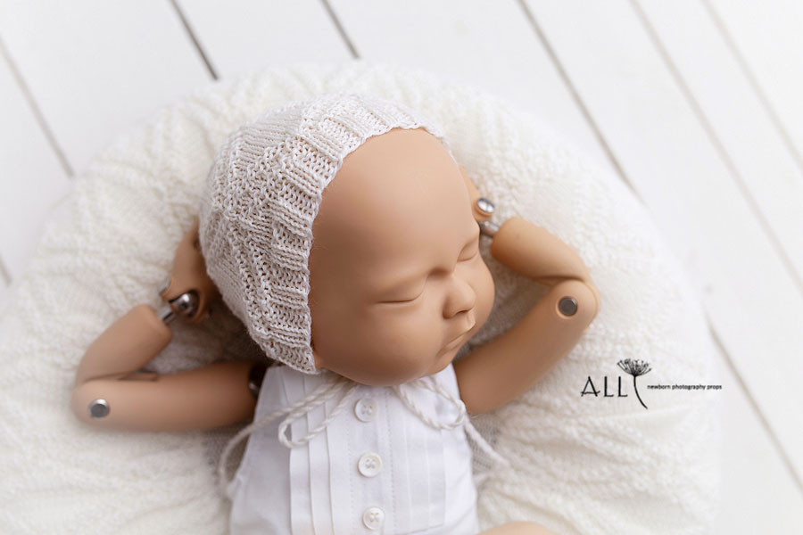 Newborn Outfits - Photography Prop Romper Sandy (Reversible) white eu