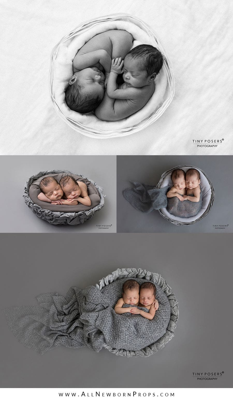 Baskets for Newborn Photography twin wooden prop newbornprops eu