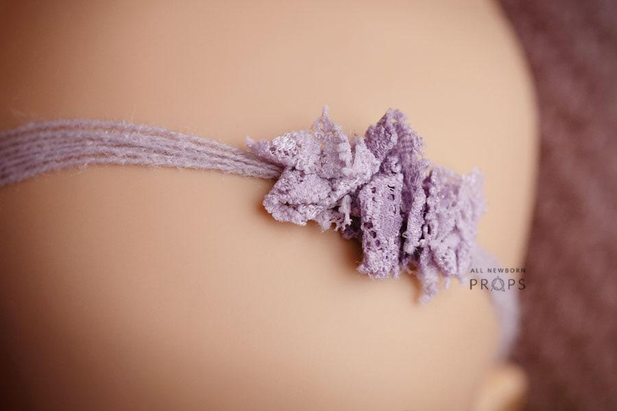 Lace-Newborn-Photography-Headband-tie-back-purple-photo-props-uk