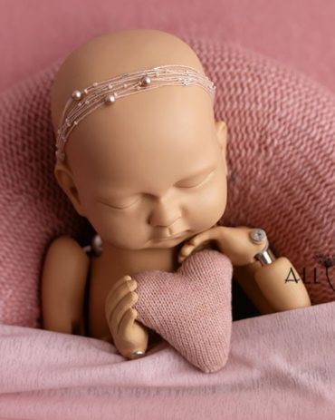baby girl photography props poser swaddle headband heart pink