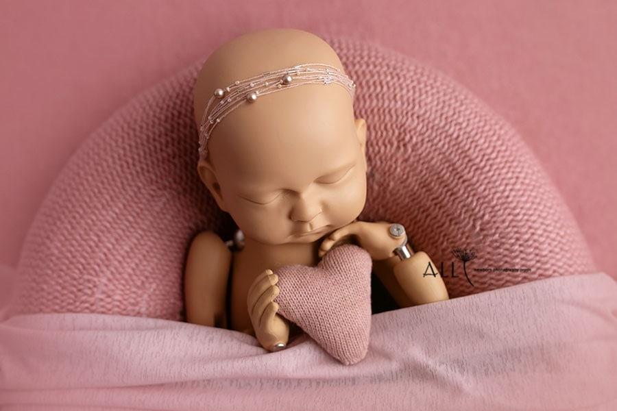 baby girl photo props poser wrap headband heart pink