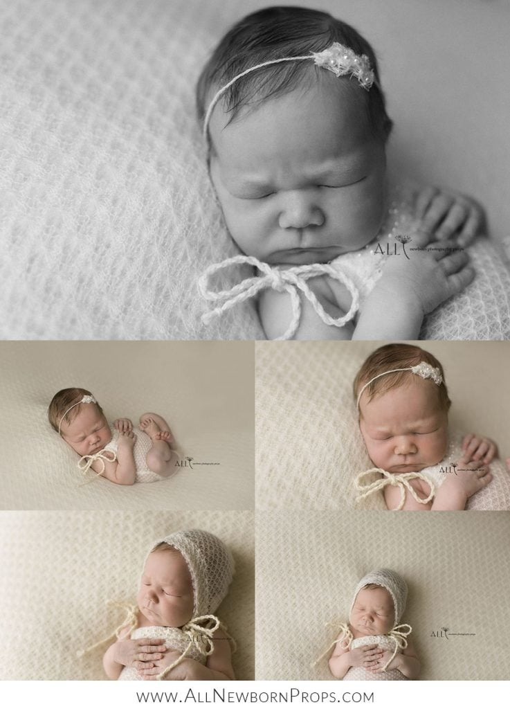 Beautiful pictures of a newborn baby girl posed on a beanbag