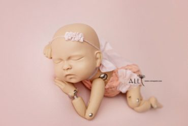 Pink Baby Headband Tieback, Lace Newborn Romper for Girl - new born props UK