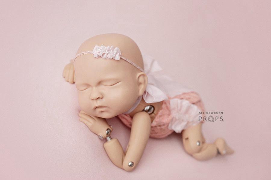 Newborn Nude Headband Newborn tiebacks photography,Baby Photo Prop,Girl photo Prop,Tieback set for newborn,Ready to Ship Baby Headband