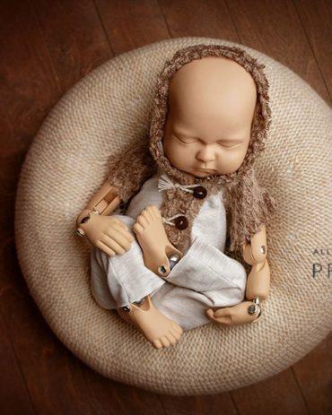 Newborn Photoshoot Outfit - Hooded Romper Owen Boy new born props eu