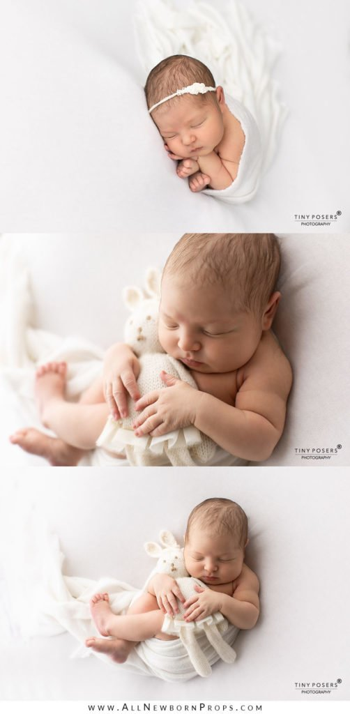 Newborn Girl Photo Ideas: Bean Bag Poses White