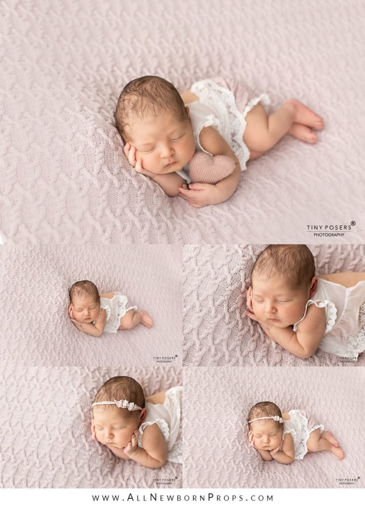 Props for Newborn Photography: Newborn Girl posed On Beanbag In Dusty Pink And White Photography Outfit