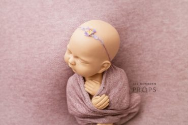 Flower Headband Newborn Girl Prop, Knit Textured Wrap