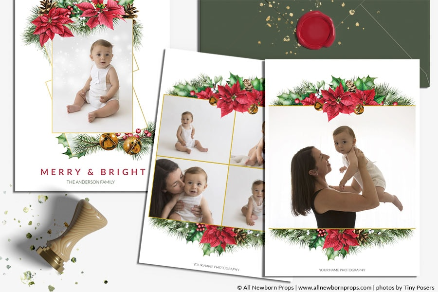 Christmas-Card-Photoshop-Template-Merry-Bright-digital-download