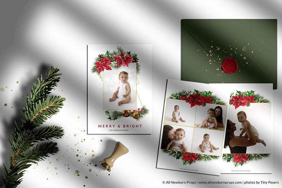 Christmas-Card-Photoshop-Template-Merry-Bright-puansetia