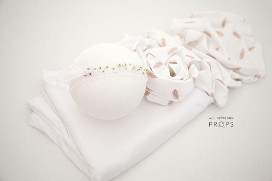Newborn-Girl-Photography-Prop-set-posing-fabric-wrap-headband-white-europe-uk