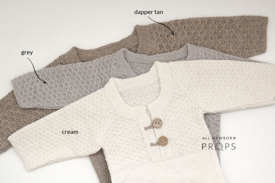 newborn-photo-outfits-sleepers-knitted-boy-girl-cream-grey-brown-europe-uk